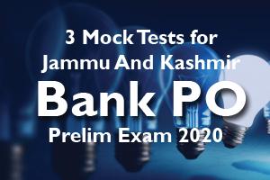 Jammu And Kashmir Bank PO Prelim Exam 2020 3 Mock Tests